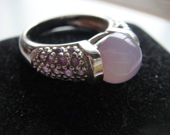 Pink Quatz and Amethyst Ring