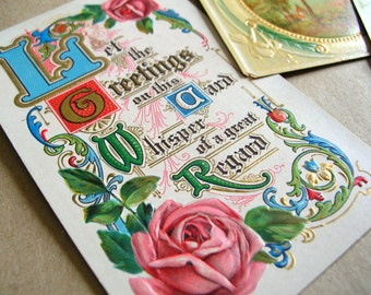 3 Antique Victorian Post Cards - Vintage Greeting Post Cards - Victorian Ephemera - Vintage Ephemera - Vintage Greeting Cards