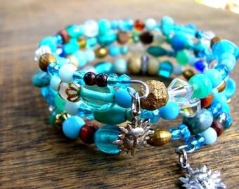 Bohemian Bracelet - Bohemian Blue Bracelet - Boho Bracelet - Turquoise Blue Bracelet - Gypsy Bracelet