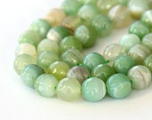 Faceted Dyed Agate Beads, Celadon Green Striped, 8mm Round - 15 inch strand - eGF-AG992-8