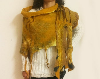 Handmade scarf/shawl from fine merino wool & shiffon - Nuno felting scarf in yellow and brown colors