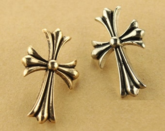 2 pcs 1.45*0.91 inch Ancient Gold/Silver Cross Pattern Metal Shank Buttons for Brooches