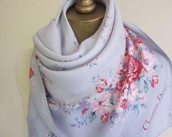 Dior vintage scarf, Dior silk scarf, Christian Dior, 50s silk scarf, floral silk scarf,  French scarves, pastel silk scarf,  1950s fashion