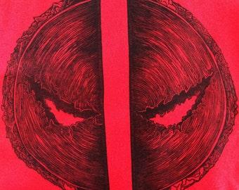 Taco Deadpool - Hand Pressed Shirt - Linocut block