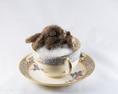 Sleeping baby bunny, Needle felt animal, rabbit, rabbit sculpture, Antique teacup