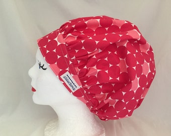 Scrub Hat Bouffant Style Designer Michael Miller White on Coral Print
