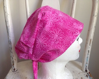 Scrub Hat Pixie Style Pink with White Flowers