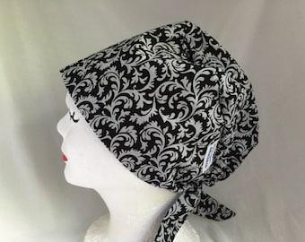 Scrub Hat Tie Back Pixie Style Black and Grey
