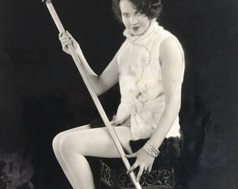 Sultry Flapper in Fur Vintage Photo