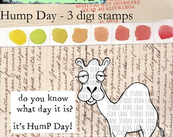 Hump Day - quirky camel digi stamp with sentiments