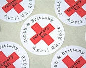 """DIY Recovery Kit stickers, personalized.  20 custom red cross stickers, 2"""" round stickers.  Hangover Kit for wedding guests."""