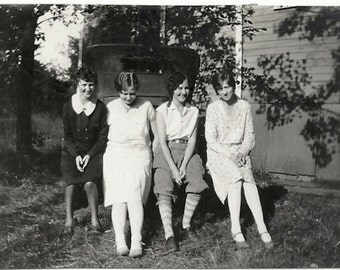 Old Photo Young Women sitting on Car Bumper 1920s Photograph Snapshot vintage