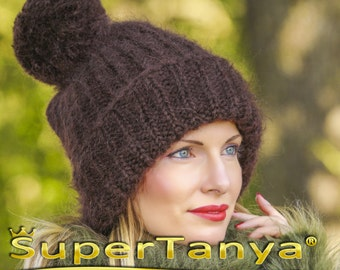 SUPERTANYA hand knitted mohair hat, thick and fuzzy warn winter beanie with giant pom pom in brown by SuperTanya