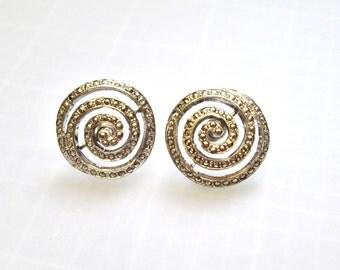 Sterling Spiral Rhinestone Earrings - Screw Back Modernist Silver