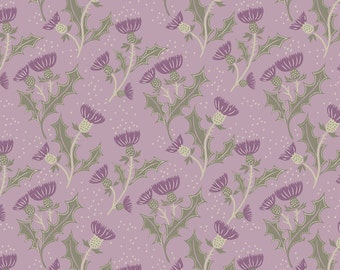 Fat Quarter Thistles on Lilac Flowers Scotland 100% Cotton Quilting Fabric