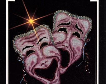 Comedy Tragedy Mask Drama Counted Cross Stitch Chart
