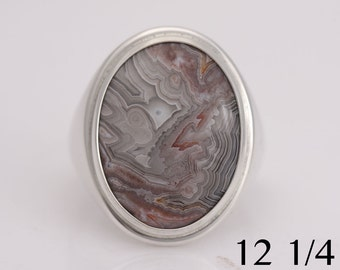 Laguna agate ring, sterling silver and laguna agate size 12 1/4 ring, #727.