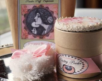 Mini Pouf Puff Powdering Set with 3 Fragrance Powder Sampler (gift boxed)  Three Powder Box Topper Options