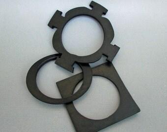 Set of Three Black Rubber Bangles