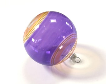 Vintage Christmas Ornament - Purple Unsilvered - Stripes - Striped - Yellow - Glass