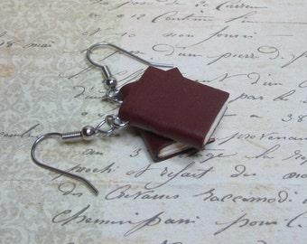Mini Book Earrings, Red Leather Book Earrings, MIniature Book Jewelry, Handmade Book Earrings, Blank Book Earrings, Book Charm Jewelry