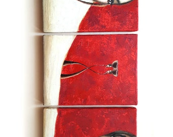 Small Painting African Style, Triptych, Mixed Media Original Painting, Red Painting, Canvas Art, African Woman Portrait Painting, Home Decor