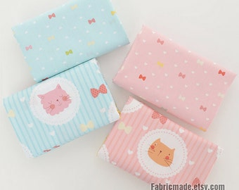 Bows & Cat Cotton Fabric, Light Blue Pink Cotton With Cute Cats Bows, Girls Fabric- 1/2 yard 45x160cm