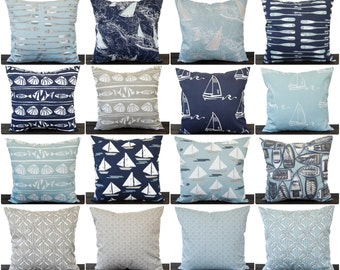 Pillow, Throw Pillow, Pillow Cover, Cushion, Decorative Pillow, Vintage Indigo Navy Blue White, Spa Blue, Cove Nautical Beach Sailing