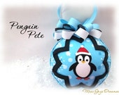 Penguin Pete Aqua and Black Unique Handmade Keepsake Quilted Christmas Ornament