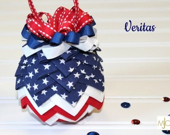 "Veritas All American Red, White and Blue Folded Fabric ""Artichoke"" style Ornament"