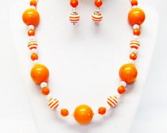 Orange w/Orange Swirl Acrylic Bubble Gum Bead Necklace & Earrings