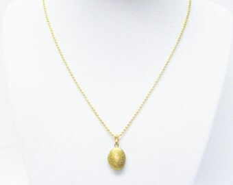 Miniature Solid Brass Oval Locket Necklace for Child