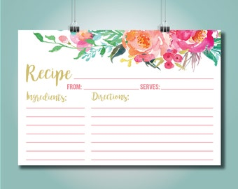 Colorful Floral Recipe Card Printable File, 4 x 6 Recipe Card Instant Download- Candice