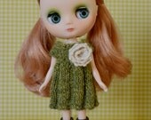 Lovely green tweedy knit dress with crochet flower embellishment.  Fits Middie, Lati Yellow, pukifee and similar dolls