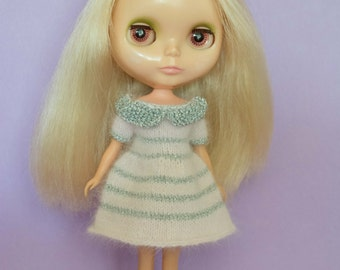 Pale pink and silver candy cane angora dress.  Neo Blythe Licca Pullip Licca Dal babydoll dress