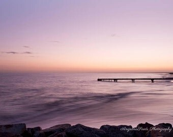 Nautical sunrise photograph Ocean sunrise picture Tranquil sea image pier print Wooden jetty Purple orange wave Busselton Zen wall art