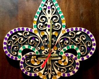 Fleur De Lis, handmade  wooden wall  clock with stones green,purple,gold.