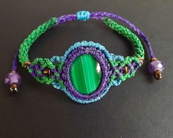 Macrame Bracelet, Boho Bracelet, Malachite with Purple, Green, and Blue Thread