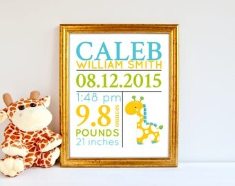Giraffe baby birth stat print, jungle decor baby, nursery birth stat poster, birth announcement, giraffe decor nursery kids bedroom, BE-1187