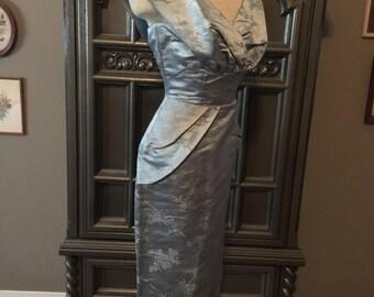 50s Blue Heaven Satin Wiggle Party Dress