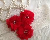 SALE-CUSTOM-Wedding Garter-Red-Purple-Aqua-Navy-Chiffon-Shabby-Flower-Pearl-Rhinestone-garter belt-Rhinestone Garter-Vintage-Bridal Garter