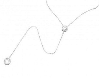 Sterling Silver Rhodium Plated Double CZ Drop Necklace #19