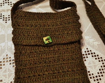 RESERVED_Crochet Cross Body iPad Tablet Device Cover Sleeve Brown Green Wooden Button Handmade Littlestsister