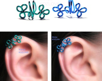 Piercing Imitation Pick Color Helix Cartilage Ear Cuff Celtic Clover/Shamrocks/clip on/fake faux piercing/ohrklemme ohrclip/ear manchette