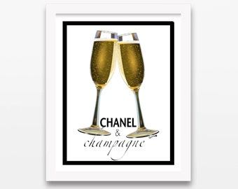 DIGITAL DOWNLOAD Coco Chanel Champagne Print | Fashion Illustration, Instant Art, Pencil Drawing, Gold Design Painting, Women, Classic Gift