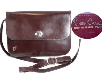 70s PIERRE CARDIN burgundy leather bag made in france
