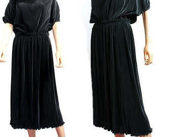 1980 french PLEATED DRESS black medium