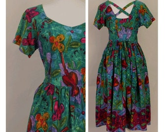 1980s floral printed Cotton Dress medium