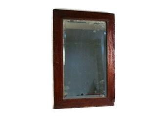 Antique Wood Frame Beveled Mirror - Rustic Mirror - Rectangular - Simple Minimalist Design - Farmhouse Decor