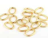 Mini Oval Gold Closed Jump Rings, Mini Oval Connectors, Gold Plated, 15 pieces // GC-393